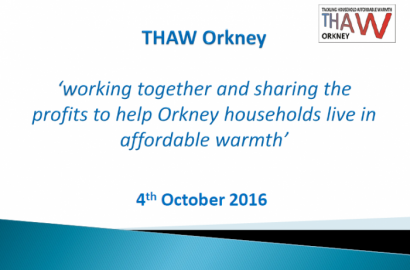 OREF Open Meeting 4th October: Working together and sharing profits to help Orkney households live in affordable warmth