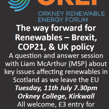 EVENT: The way forward for Renewables – Brexit, COP21 & UK Policy
